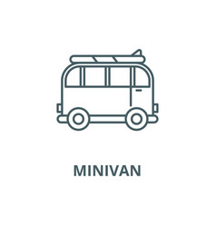 minivan for travel line icon linear vector image