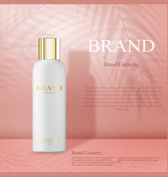 Moisturizing cosmetic products ad light pink vector