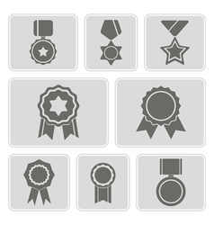monochrome icons with awards symbols vector image