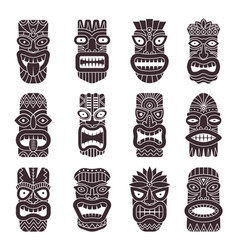Monochrome set of tribal god vector