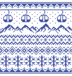 mountains and gondolas ski pattern vector image