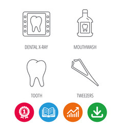 Mouthwash tooth and dental x-ray icons vector
