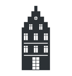 Multi storey house black silhouette isolated icon vector