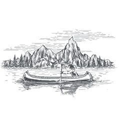 Native american in canoe boat vector
