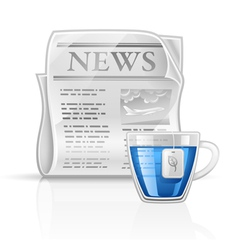 newspaper with cup of tea vector image
