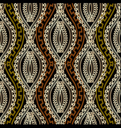 Ornate braided wave lines greek seamless pattern vector