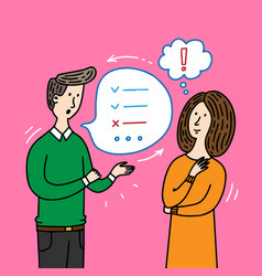 people talking and thinking doodle elements vector image