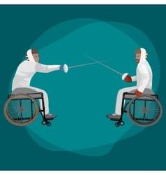 physically disabled athletes fencing in a vector image