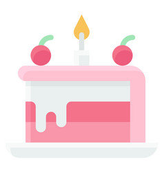 piece cake icon birthday party related vector image