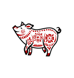 Pig for happy chinese new year celebration in vector