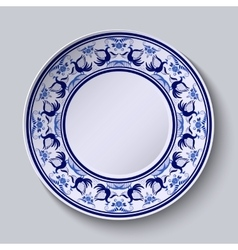 Plate with pattern in gzhel style of painting on vector image