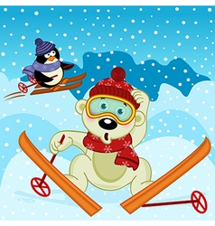 Polar bear and penguin skiing vector