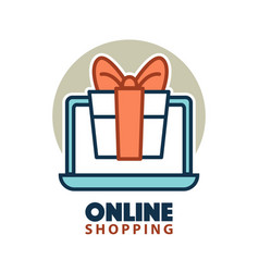 Present gift box in open laptop online shopping vector