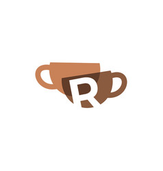 R letter coffee cup overlapping color logo icon vector