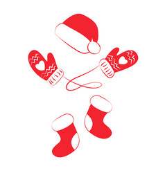 red hat boots or socks and warm mittens vector image