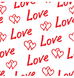 red love hearts and handwritten lettering love vector image