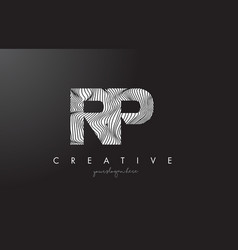 rp r p letter logo with zebra lines texture vector image