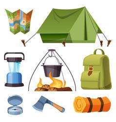 Set camping equipment and stuff cartoon vector