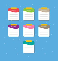 Set colorful note paper template vector