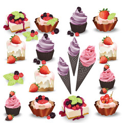 set of delicious sweets and desserts with fruits vector image