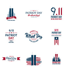 Set of various patriot day graphics cards vector