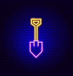 Shovel neon sign vector