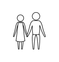 sketch silhouette of pictogram couple holding vector image