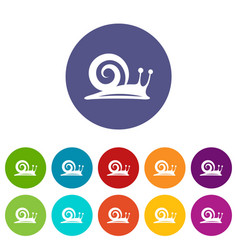 snail icons set color vector image
