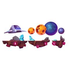 space game platform cartoon arcade elements set vector image