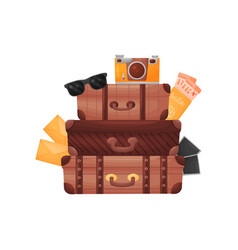 Stack three old brown closed suitcases vector