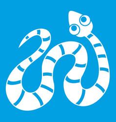 Striped snake icon white vector