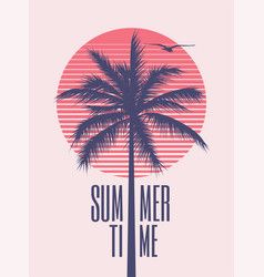 summer time minimalistic vintage styled poster vector image
