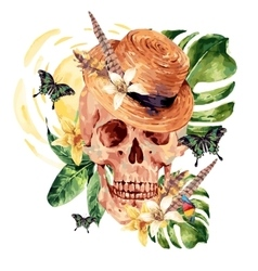 Summer watercolor skull tropical leaves vector image