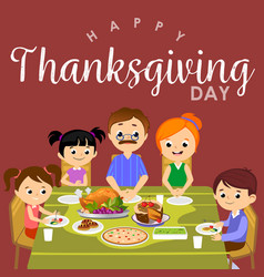 thanksgiving set isolated happy family at the vector image