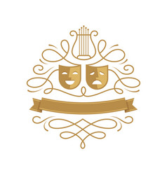 Theatre emblem with comedy and tragedy masks vector