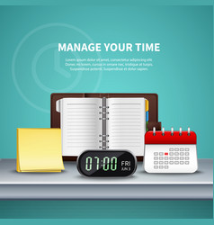 time management realistic colored composition vector image