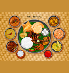 Traditional bengali cuisine and food meal thali of vector