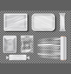 Transparent food packages from polythene vector