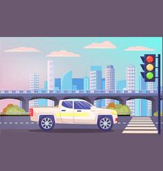 van waiting pedestrian crossing cityscape vector image