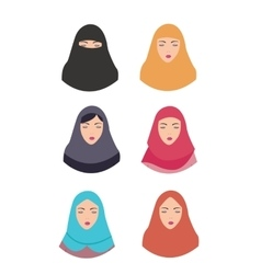 Woman wear hijab veil islam tradition islamic vector