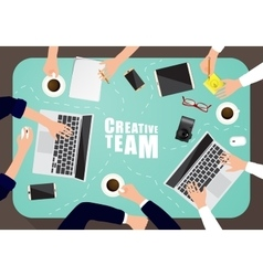 Working place of creative team in flat design vector