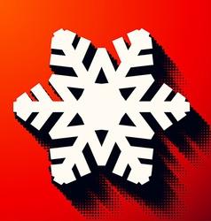 Christmas snowflake with halftone shadow vector image