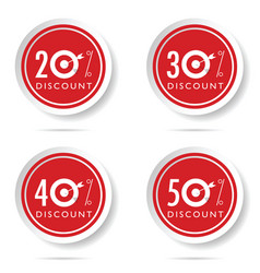 discount icon set on red button vector image vector image