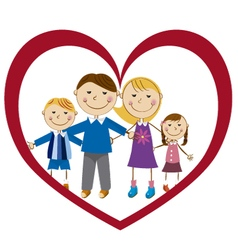 family in a heart vector image