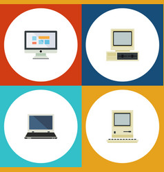 flat icon laptop set of notebook computer vector image