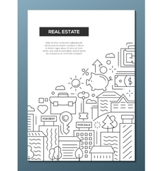 Real Estate - line design brochure poster template vector image vector image