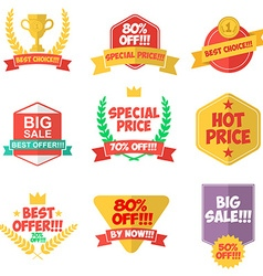 Set of discount labels and badges vector image