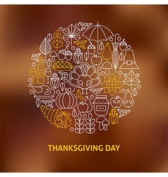 Thin Line Thanksgiving Day Holiday Icons Set vector image