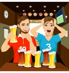 Two happy football fans cheering at bar vector image