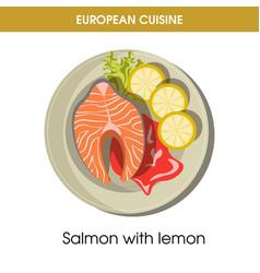european cuisine salmon fish traditional dish food vector image vector image